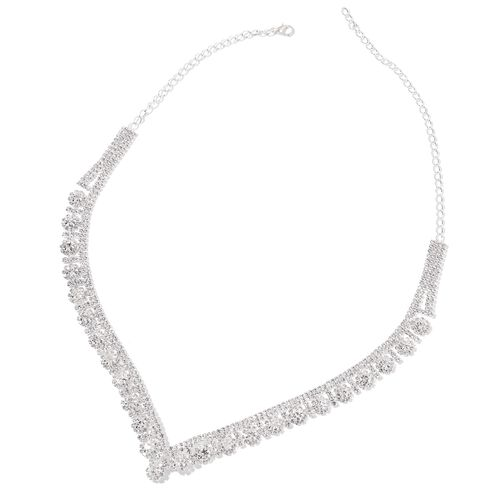 Designer Inspired-AAA White Austrian Crystal Floral Necklace (Size 22) and Earrings (with Push Back) Silver Plated
