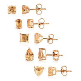 Set of 5 - Citrine Stud Earrings (with Push Back) in 14K Gold Overlay Sterling Silver 5.500 Ct.
