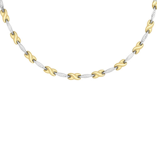 9K White and Yellow Gold Bar and Kisses Necklace (Size 17), Gold wt 8.90 Gms.