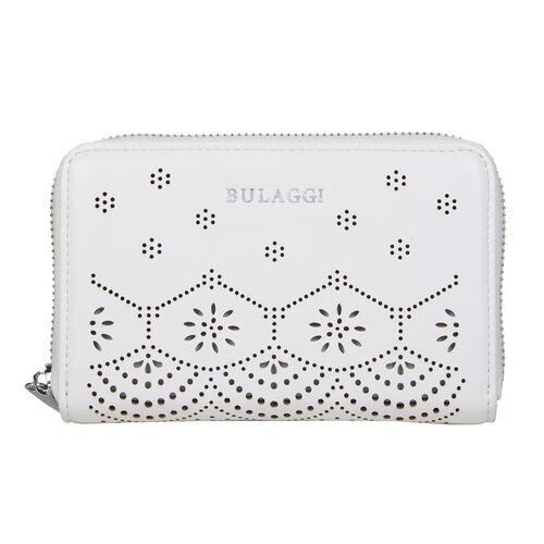 Bulaggi Collection - GAIL Floral Pattern Ziparound Wallet (15x10x2.5cm) - White