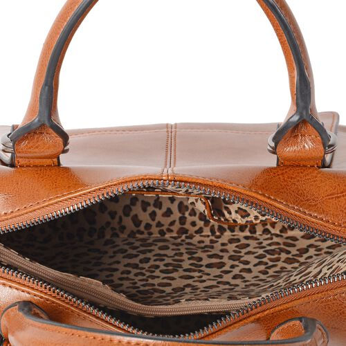 Close Out Deal100% Genuine Leather Tan Colour Tote Bag with External Zipper Pocket and Removable Shoulder Strap (Size 28x22x13 Cm)