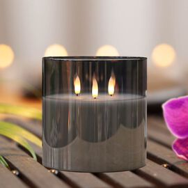Three Wick Smoked Glass LED Candle (AA Battery not Included)