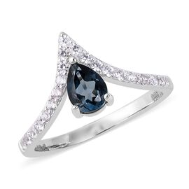 Isabella Liu Twilight Collection Blue Topaz and Zircon Wishbone Ring in Rhodium Plated Silver
