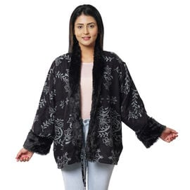 Floral Damask Pattern Cozy Jacquard Jacket with Faux Fur Trim and Long Sleeve  - Black