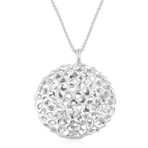 RACHEL GALLEY Rhodium Plated Sterling Silver Disc Locket Pendant With Chain, Silver wt 19.79 Gms.