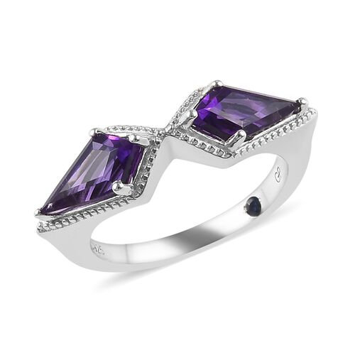 GP 1.78 Ct Amethyst and Blue Sapphire Classic Ring in Platinum Plated Sterling Silver