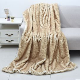 Siberian Wolf Faux Fur Sherpa Blanket (Size 150x200 Cm)- Tan