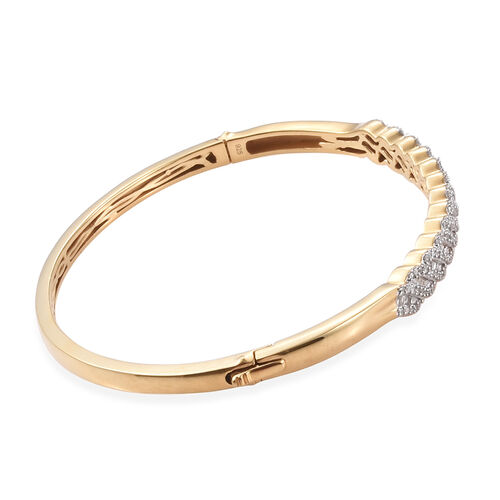 Diamond (Bgt) Bangle (Size 7.5) in 14K Gold Overlay Sterling Silver   1.000 Ct, Silver wt 15.21 Gms, Number of Diamonds 203.