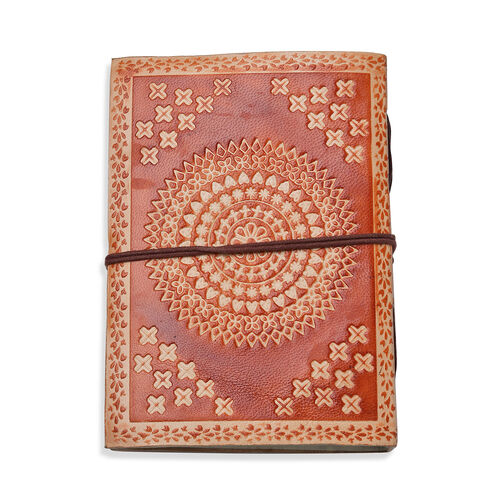 Handcrafted Genuine Leather and Cotton Diary with Black Onyx Center Stone