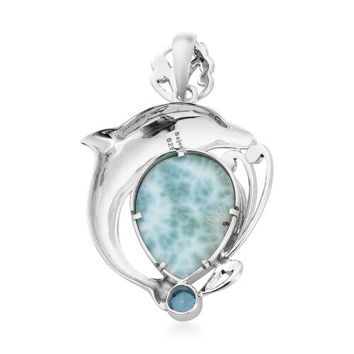 Sajen Silver - Larimar and Celestial Swiss Blue Doublet Quartz Dolphin Pendant in Sterling Silver 9.41 Ct.