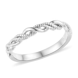 WEBEX- Band Ring in Platinum Overlay Sterling Silver