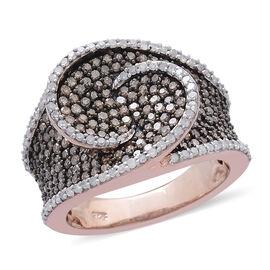 Designer Inspired Natural Champagne Diamond (Rnd), White Diamond Ring in Rose Gold, Black and Platinum Overlay Sterling Silver 1.500 Ct.