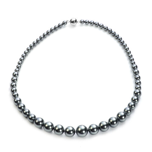 3 Piece Set - Peacock Shell Pearl Stretchable Bracelet (Size 7), Necklace (Size 20 with Magnetic Lock) and Earrings (with Push Back) in Stainless Steel