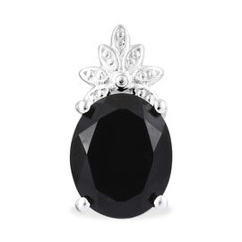 Black Tourmaline (Ovl) Solitaire Pendant in Sterling Silver 3.750 Ct.