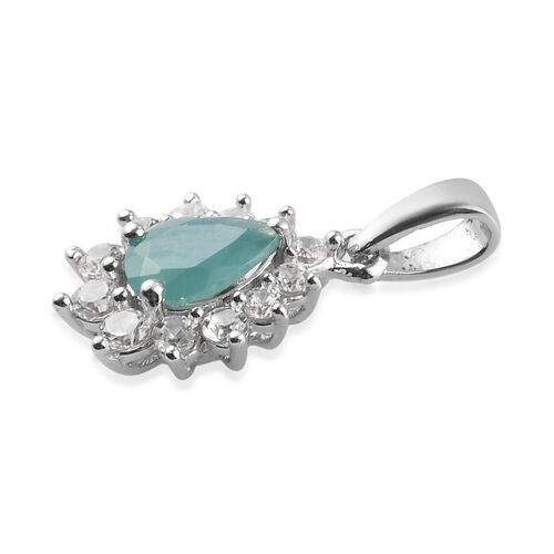 AAA Grandidierite and Natural Cambodian Zircon Halo Pendant in Platinum Overlay Sterling Silver 1.24 Ct.
