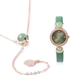 2 Piece Set - STRADA Japanese Movement Green Aventurine and White Austrian Crystal Studded Water Res