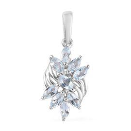 Aquamarine Cluster Pendant in Platinum Overlay Sterling Silver