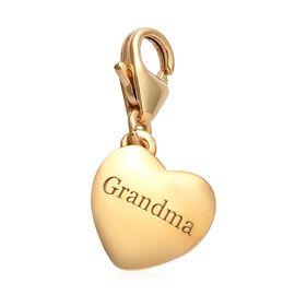 14K Gold Overlay Sterling Silver Grandma Heart Charm