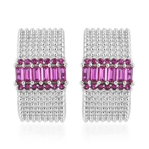 Lab Grown Ruby (Bgt) Hoop Earrings (with Plastic Push Back) in Platinum Plated.