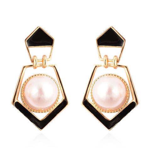 Edison Pearl Enamelled Earrings in Yellow Gold Overlay Sterling Silver