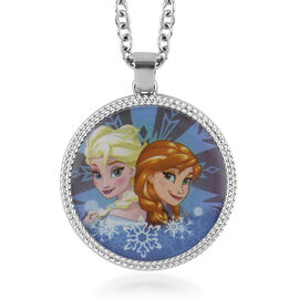 Disney Frozen Elsa and Anna Circle Pendant Necklace (Size 16 with 2 inch Extender) in Silvertone