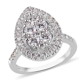 J Francis Platinum Overlay Sterling Silver Ring Made with SWAROVSKI ZIRCONIA 2.58 Ct.
