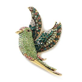 Green and Multi Colour Austrian Crystal (Rnd) Hummingbird Bird Brooch in Gold Tone