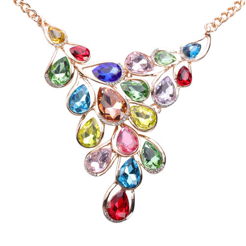 2 Piece Set - Multi Colour Austrian Crystal Necklace (Size 22 with Extender) and Hook Earrings in Gold Tone