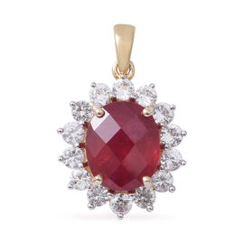 Super Auction-9K Yellow Gold AAA Rare Size African Ruby (Ovl 12x10 mm 7.50 Ct), Natural Cambodian Zircon Pendant 9.600 Ct.