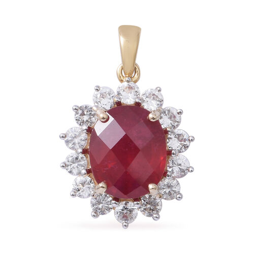9.5 Ct AAA African Ruby and White Zircon Halo Pendant in Gold Plated 9K Gold 2.29 Grams