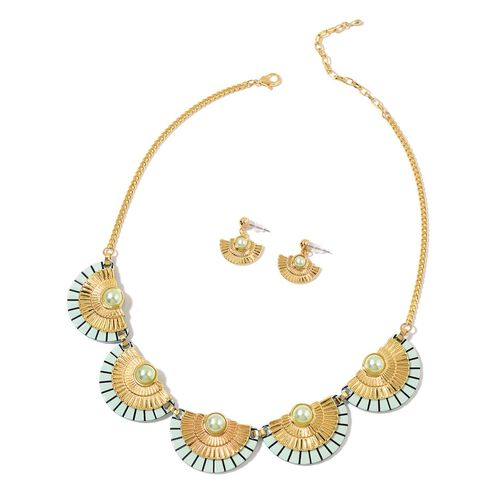 Simulated Pearl Egyptian Style Necklace (Size 20 with 2 inch Extender) and Earrings (with Push Back) in Yellow Gold Tone