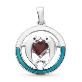 Mozambique Garnet Enamelled Dolphin Pendant in Platinum Overlay Sterling Silver