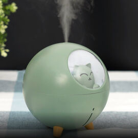 The Fifth Season - Cute Planet Cat Humidifier with 10ml Jasmine Fragrance Oil and Colour Changing LED Light - Green