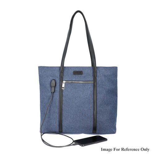 Multi Purpose Zipper Closure Large Tote Bag (40x13x35cm) with Wristlet (20x12cm) and Power Bank - Navy