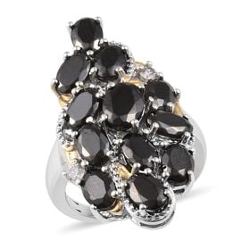 Elite Shungite (Ovl), Natural Cambodian Zircon Cluster Ring in Platinum and Yellow Gold Overlay Ster