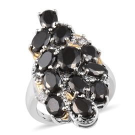 3.50 Ct Elite Shungite and Cambodian Zircon Cluster Ring in Sterling Silver 5.10 Grams