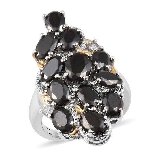 3.50 Ct Elite Shungite and Cambodian Zircon Ring in Sterling Silver 5.10 Grams