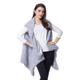 Sky Blue Colour Faux Fur Kimono (Size 155x75 Cm)