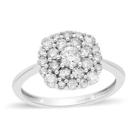 9K White Gold SGL Certified Natural Diamond (I3/G-H) Cluster Ring 1.00 Ct.