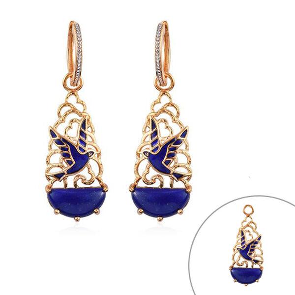 GP 12.25 Ct Lapis Lazuli and Kanchanaburi Blue Sapphire Bird Drop Earrings in Gold Plated Silver