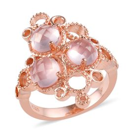GP Rose Quartz (Rnd), Blue Sapphire Ring in Rose Gold Overlay Sterling Silver 2.50 Ct.