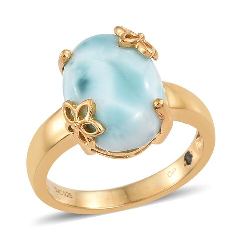 GP Larimar (Ovl), Kanchanaburi Blue Sapphire Ring in 14K Gold Overlay Sterling Silver 8.500 Ct.
