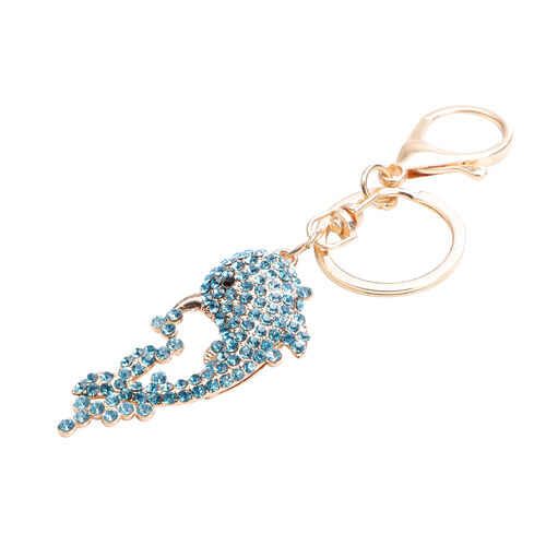 Set of 3 -  White and Blue Austrian Crystal Enamelled Mermaid, Turtle and Dolphin Keychain in Yellow and Rose Gold Tone