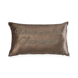 Wake me For Champagne - Cushion with Hand Embroidered Beads (30x50 cm Filling Incl.) Chocolate