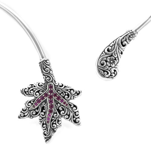 Bali Legacy Collection - African Ruby (Rnd) Maple Leaf Collar Necklace (Size 16) in Sterling Silver Silver wt 31.40 Gms