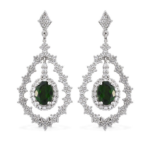 5 Ct Russian Diopside and Natural Cambodian Zircon Earrings in Platinum plated Silver