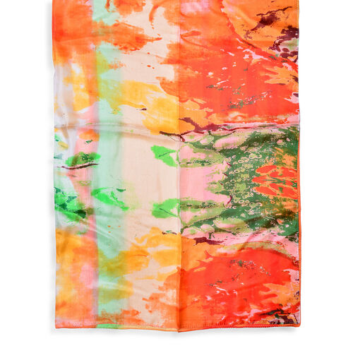 100% Mulberry Silk Green, Orange and Multi Colour Scarf (Size 170x110 Cm)