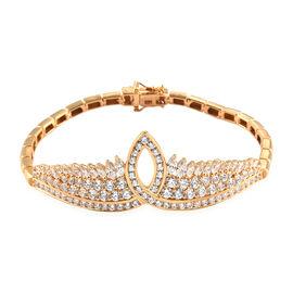 J Francis 14K Gold Overlay Sterling Silver Bracelet (Size 7.5) Made with SWAROVSKI ZIRCONIA 10.79 Ct