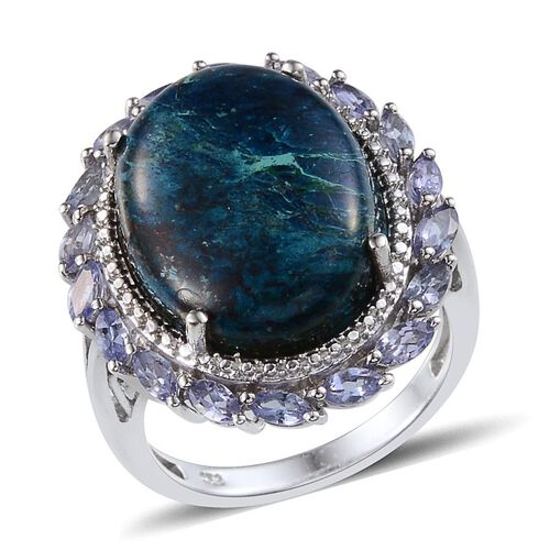 Table Mountain Shadowkite (Ovl 17.50 Ct), Tanzanite Ring in Platinum Overlay Sterling Silver 19.000 Ct.