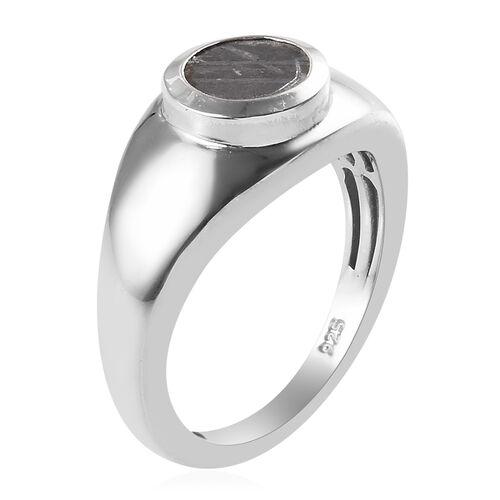 Tucson Special - Meteorite (Rnd) Ring in Platinum Overlay Sterling Silver